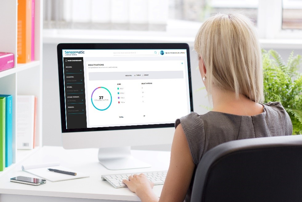 Woman reviewing inventory dashboard on screen