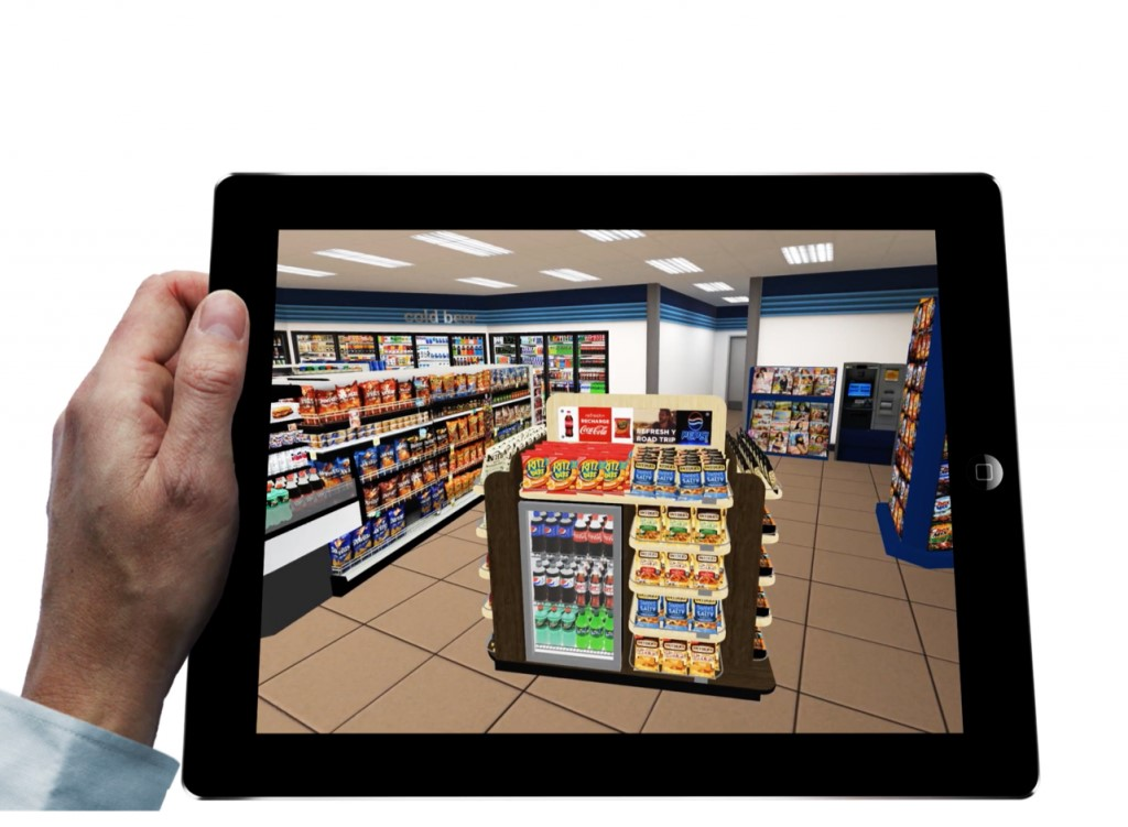 Virtual reality view of aisle at a retail store