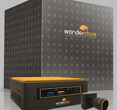 box and cameras showing WonderStore branding