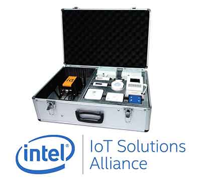 metal box with air monitoring solution inside and Intel branding