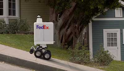 Robot branded with FedEx rolls up hill to deliver package