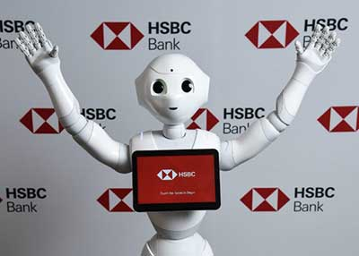 Robot with bank screen on chest