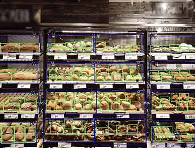 Racks of baked good with image identifiers