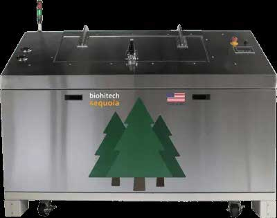 metal waste container with green trees label