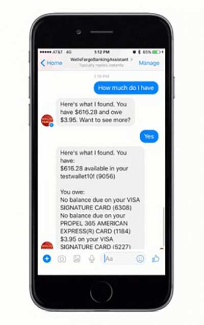 screen shot of mobile banking app offering tips to customer