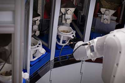 robotic are reaches for bowl of ingredients