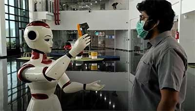 Robot scanning for temperature of masked man