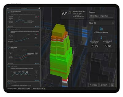 3d image of building with multiple dashboards of building data