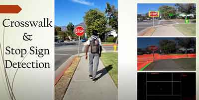 Person with AI-powered backpack walking near stop sign