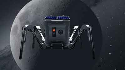 square robot with spider-like legs in front of moon image