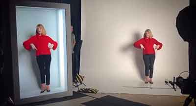 two images of woman wearing red shirt and dark pants