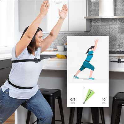 woman in health strap with sensors mimicking an exercise graphic