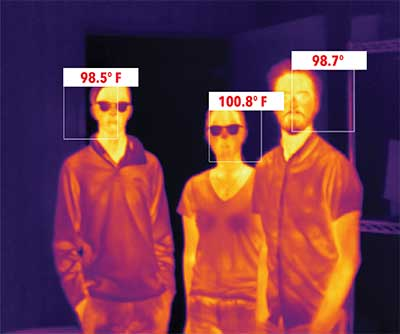 Body temperature readings appear for images of 2 men and a woman