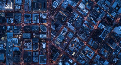 Aerial view of city buildings and streets