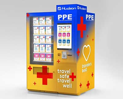 vending machine with personal hygiene supplies for flying