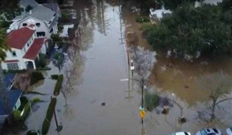 San Jose, CA drone images of flooding